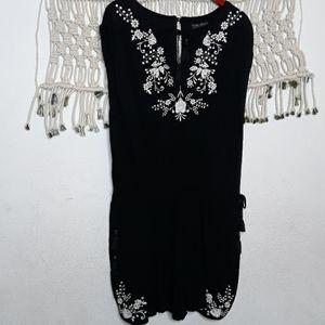 Forever 21+ black embroidered tassel romper